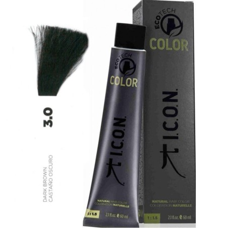 Tinte ICON Ecotech Color Castaño Oscuro 3.0 sin alcohol, amoníaco ni ppd
