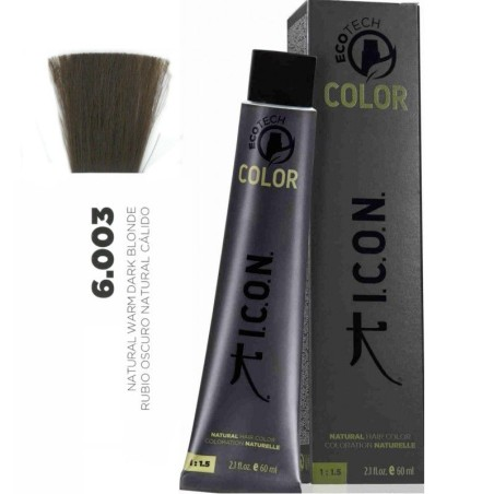 Tinte ICON Ecotech Color Rubio Oscuro Natural Cálido 6.003 sin alcohol, amoníaco ni ppd