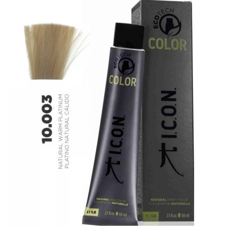 Tinte ICON Ecotech Color Platino Natural Cálido 10.003 sin alcohol, amoníaco ni ppd