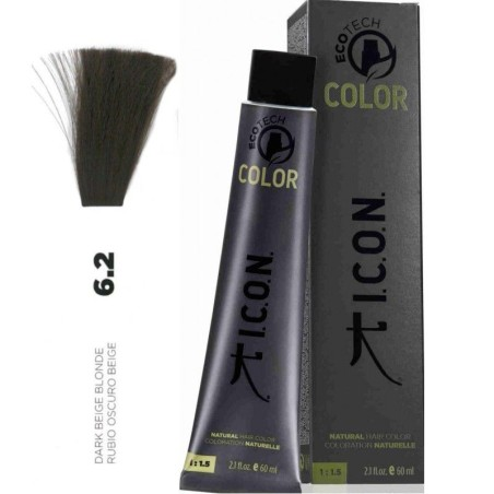 Tinte ICON Ecotech Color Rubio Oscuro Beige 6.2 sin alcohol, amoníaco ni ppd