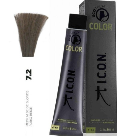 Tinte ICON Ecotech Color Rubio Beige 7.2 sin alcohol, amoníaco ni ppd