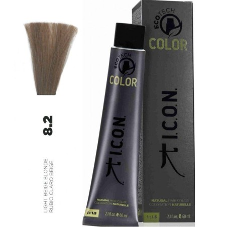 Tinte ICON Ecotech Color Rubio Claro Beige 8.2 sin alcohol, amoníaco ni ppd