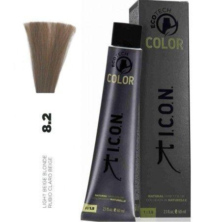 Tinte ICON Ecotech Color Rubio Claro Beige 8.2 sin alcohol, amoníaco ni ppd