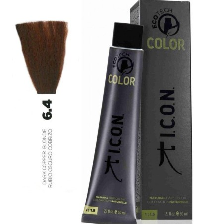 Tinte ICON Ecotech Color Rubio Oscuro Cobrizo 6.4 sin alcohol, amoníaco ni ppd