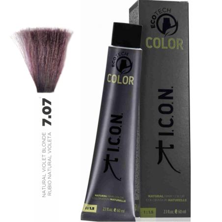 Tinte ICON Ecotech Color Rubio Natural Violeta 7.07 sin alcohol, amoníaco ni ppd
