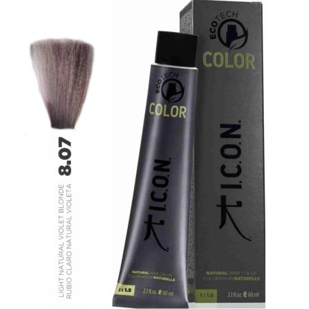 Tinte ICON Ecotech Color Rubio Claro Natural Violeta 8.07 sin alcohol, amoníaco ni ppd