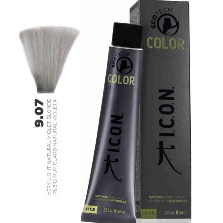Tinte ICON Ecotech Color Rubio Muy Claro Natural Cálido Violeta 9.07 sin alcohol, amoníaco ni ppd